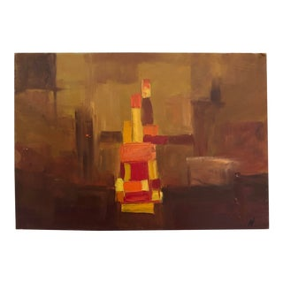 Vintage Mid-Century Small Abstract Oil on Board Painting For Sale