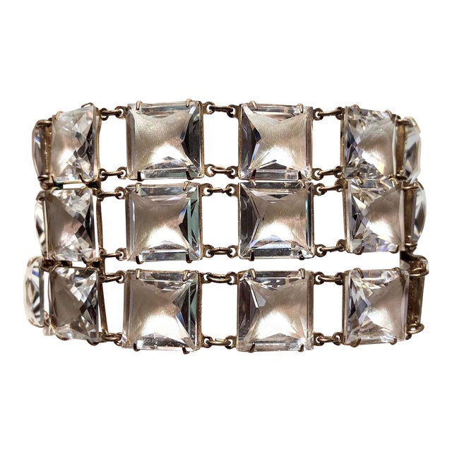 Mid-Century Clear Faceted Crystal Bracelet For Sale