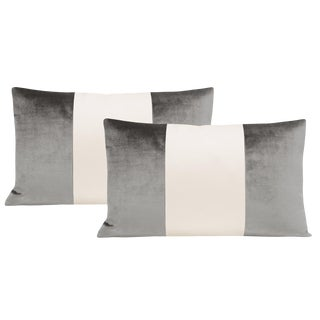 "12""x 18"" Chrome Velvet & Alabaster Silk Panel Lumbar Pillows - a Pair For Sale"