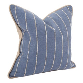 """Kenneth Ludwig Chicago Evie Indigo 20"""" Square Pillow For Sale"""