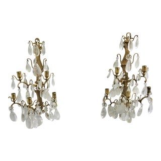 French Bronze & Rock Crystal Candle Sconces - a Pair For Sale