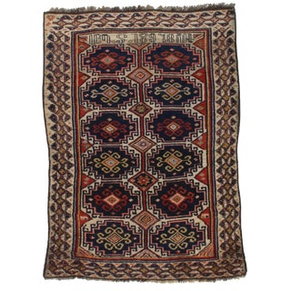 "Antique Armenian Lamb Wool Rug-3'10"" X 5'5"" For Sale"