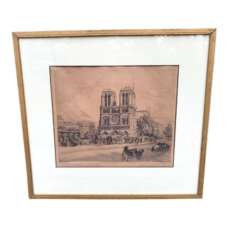 Engraving of Notre Dame Paris, France For Sale