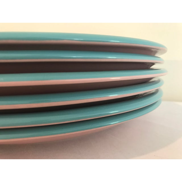 Century Rio Pink & Turquoise Stoneware Dinner Plates - Set of 6 For Sale - Image 4 of 6