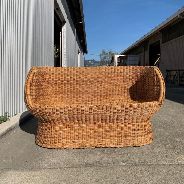 Wood Eero Aarnio Rattan Settee For Sale - Image 7 of 12