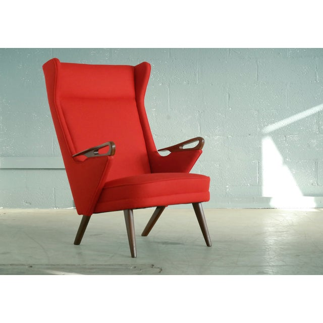Extremely rare and simply fantastic Svend Skipper attributed 1950s lounge chair in the style of Hans Wegner's and Svend...