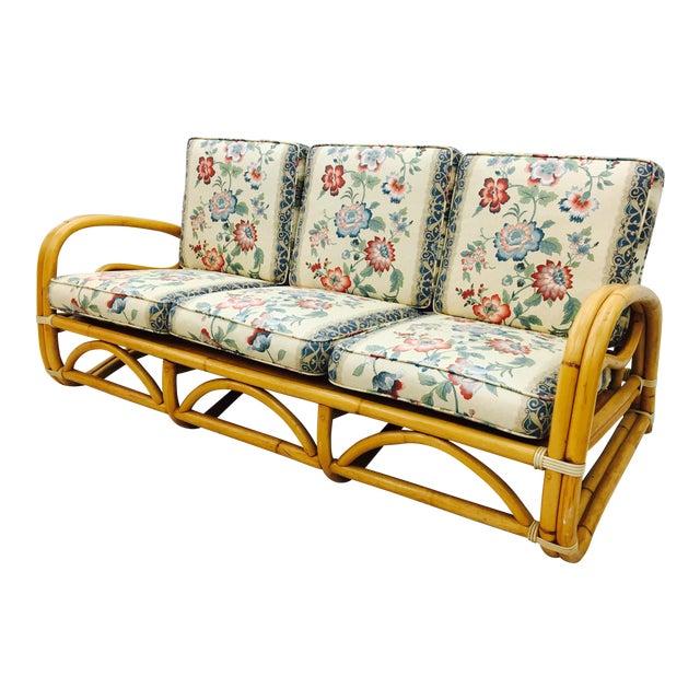 Vintage Mid-Century Rattan Sofa For Sale