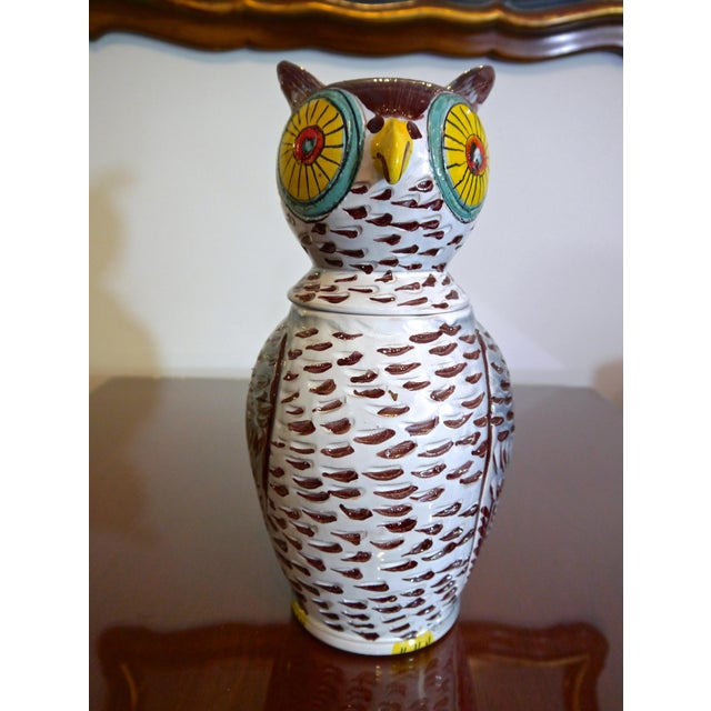 Colorful mid century hand painted Italian owl cookie jar in the manner of Aldo Londi for Bitossi. Signed underneath and in...