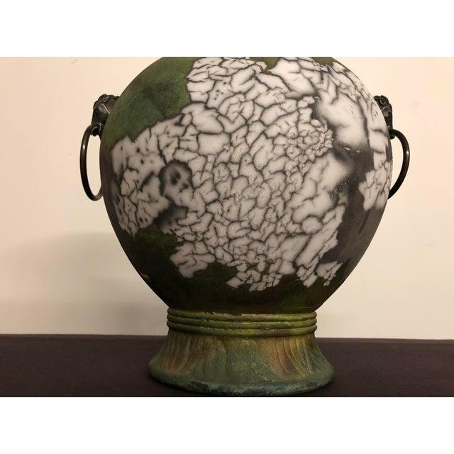 Metal Tony Evans Raku Large Vase With Metal Horse Handles For Sale - Image 7 of 13