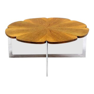 Vintage Mid Century Daisy Shape Round Walnut Top Chrome X Base Coffee Table For Sale