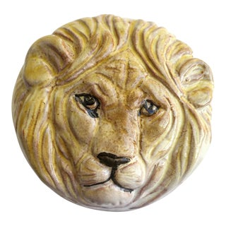 Italian Ceramic Lion Box For Sale