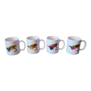 Set of 4 Winnie Staniford Designs Fly Fishing Lure Decorative Ceramic Coffee Mugs *New Old Stock* For Sale