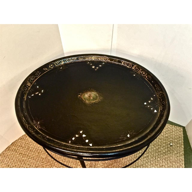 Vintage English Regency Tray on Iron Stand - Image 4 of 7
