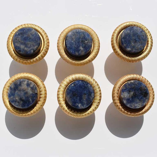 Sherle Wagner Semiprecious Round Blue Lapis Lazuli Cabinet Pulls- Set of 6 For Sale - Image 6 of 6