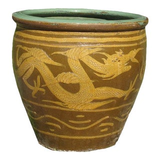 1990s Chinese Glazed Earthenware Dragon Planter