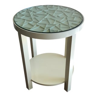 Baker Furniture Round Off White With Glass Top Accent Table