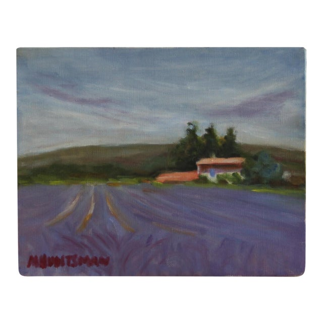 Lavender Field Landscape Oil Painting - Image 1 of 3