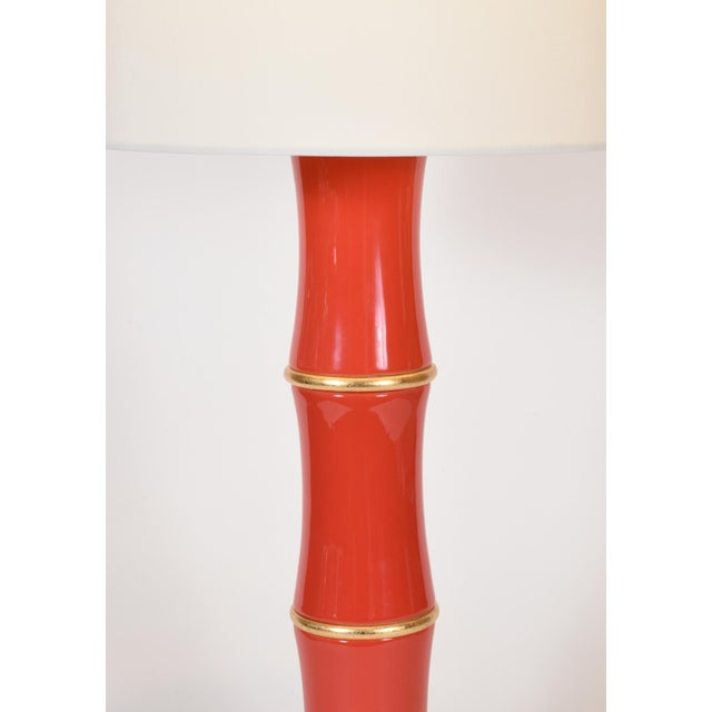 Ceramic Orange Porcelain Table Lamp With Gold Wood Base - a Pair For Sale - Image 7 of 10