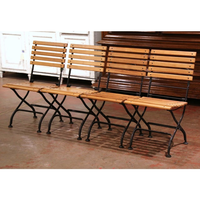 Painted Wrought Iron and Teak Wood Folding Garden Chairs, Set of Four For Sale - Image 13 of 13