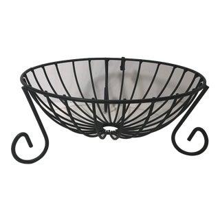 Vintage Black Metal Planter Basket For Sale