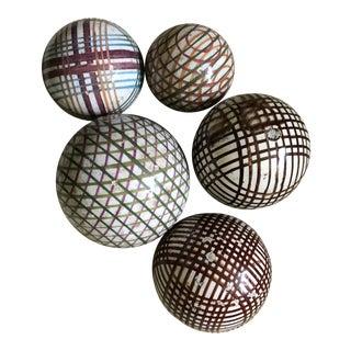 Antique Scottish Carpet Balls in a Bowl - Set of 5 For Sale