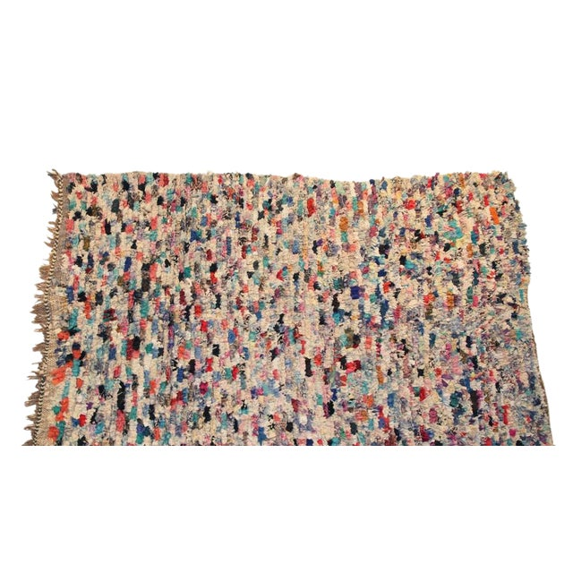 "Vintage Boucherouite Moroccan Carpet - 7' X 4'4"" - Image 1 of 4"