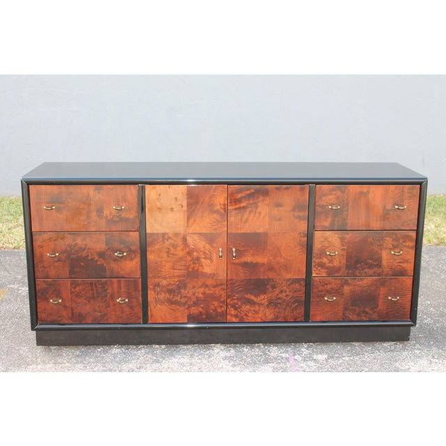 Mid-Century Modern Art Deco Black Lacquer & Burlwood Buffet by Henredon For Sale - Image 3 of 11