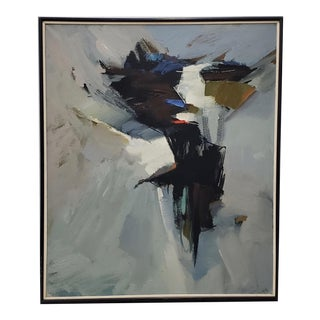 "Avis Demonte (American, 1914-1985) Mid Century Modern ""March"" Abstract Oil Painting C.1970 For Sale"