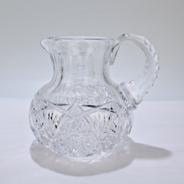 Transparent Small Antique Squat Cut Glass Juice or Cocktail Pitcher For Sale - Image 8 of 13