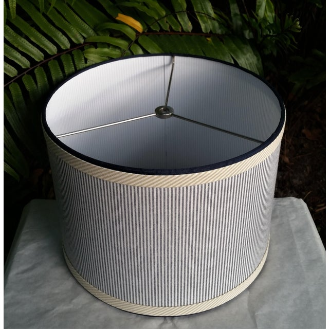 Children's Blue and White Stripe Cotton Off White Trim Coastal Drum Lampshade For Sale - Image 3 of 9