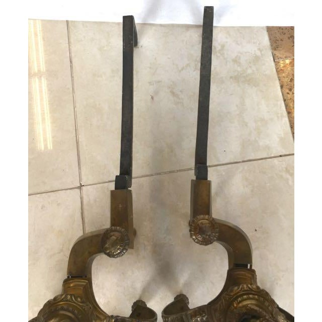 Louis XIV Style Brass Andirons - a Pair For Sale - Image 10 of 13