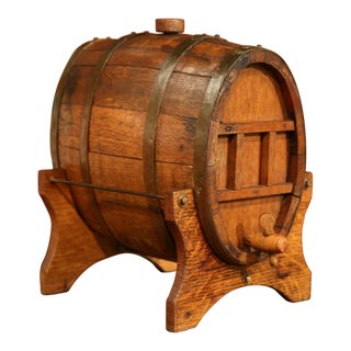 19th Century French Carved Wood and Iron Cognac Barrel With Stand From Normandy For Sale