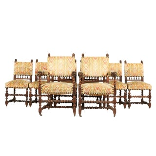 19th C. Renaissance-Style Barley Twist Dining Chairs Set 8 For Sale