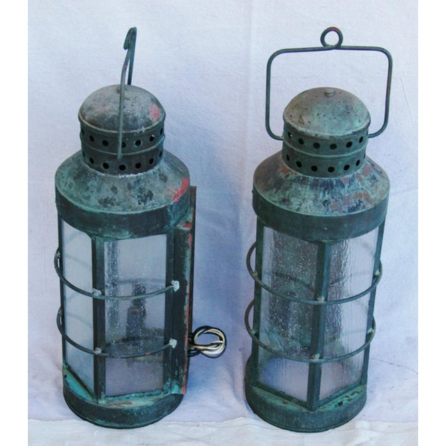 Nautical Copper Lantern Wall Sconces- A Pair - Image 6 of 12