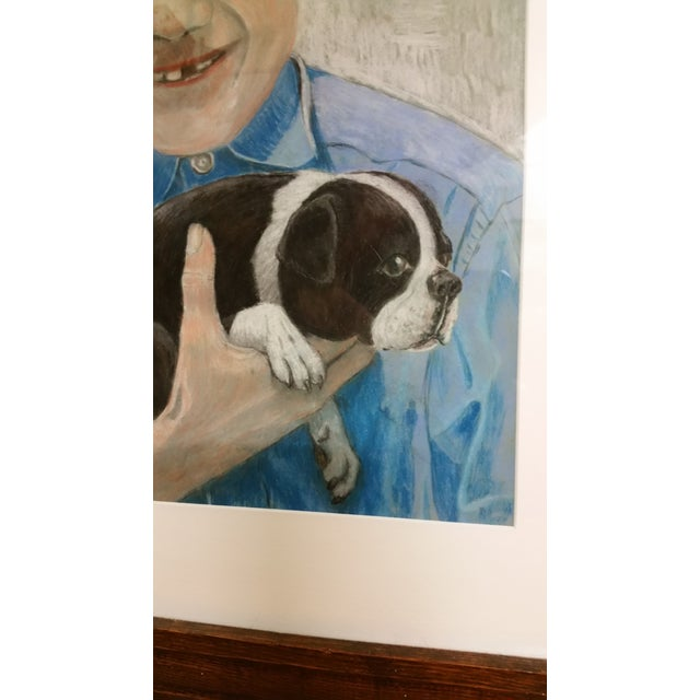 Mid-Century Outsider Boy & Dog Pastel Painting - Image 3 of 4