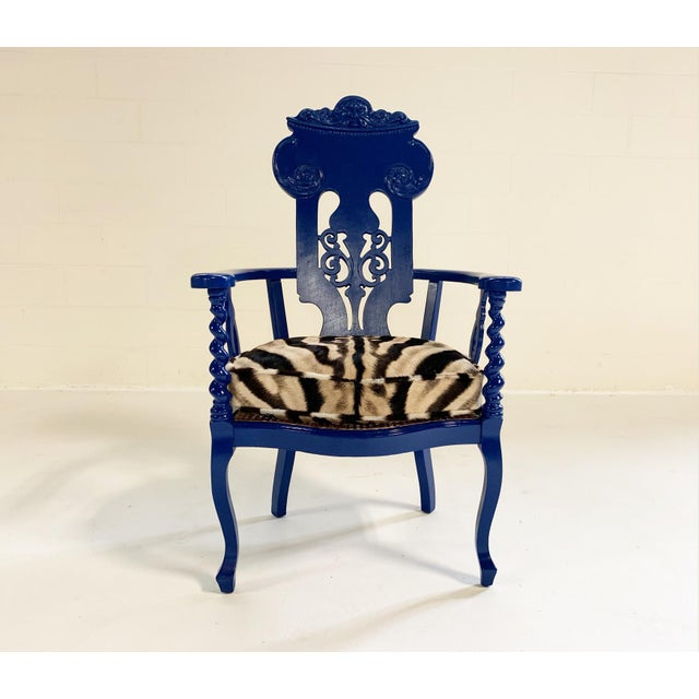 Wood Renaissance Revival Armchair With Zebra Hide Cushion For Sale - Image 7 of 7