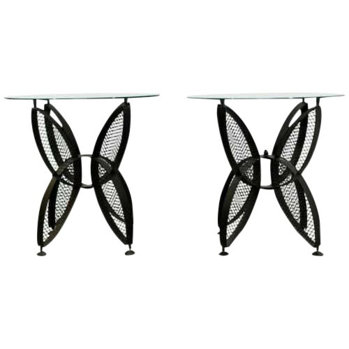 Mid Century Modern Tempestini Salterini Butterfly Patio Pair Side Tables 1960s For Sale