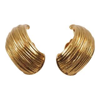Yves Saint Laurent Ysl Paris Clip on Earrings Gilt Metal Half Hoop For Sale