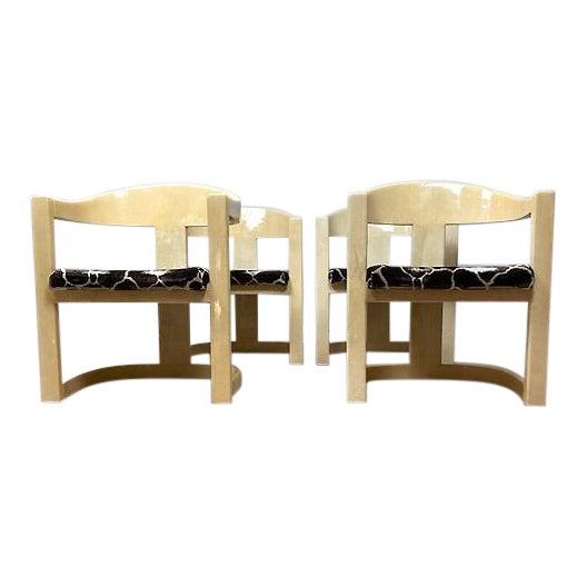 Vintage Karl Springer Onassis Goatskin Chairs - Set of 4 For Sale