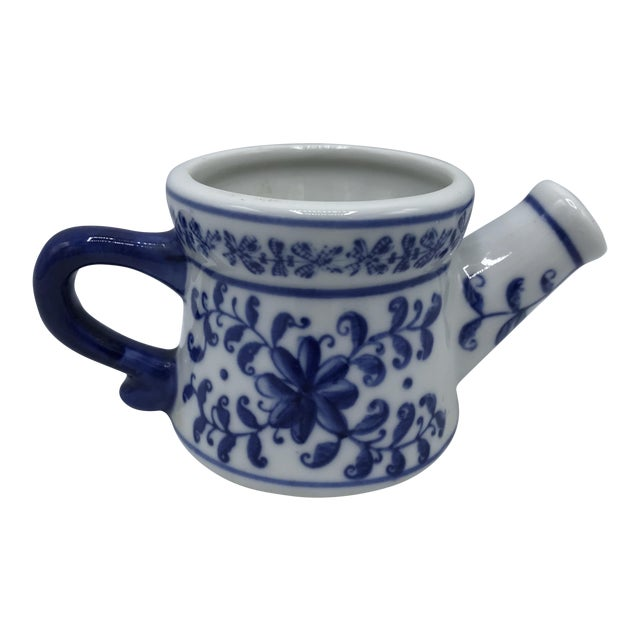Blue and White Porcelain Miniature Watering Can Sculpture For Sale
