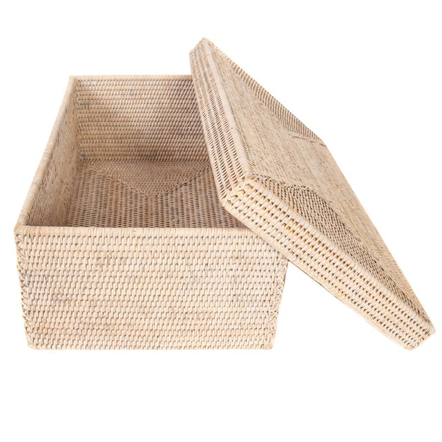 Artifacts Rattan Rectangular Storage Box With Lid For Sale - Image 4 of 6