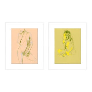Figure 1& 3 Diptych by David Orrin Smith in White Frame, XS Art Print For Sale