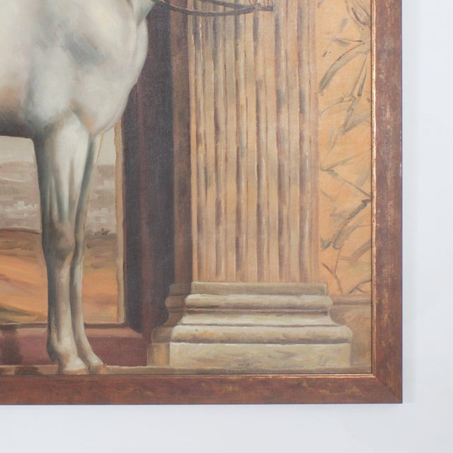 Neoclassical Mid Century Oil Painting on Canvas of a White Horse For Sale - Image 3 of 7