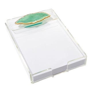 Acrylic Notepad Tray W/ Green Agate