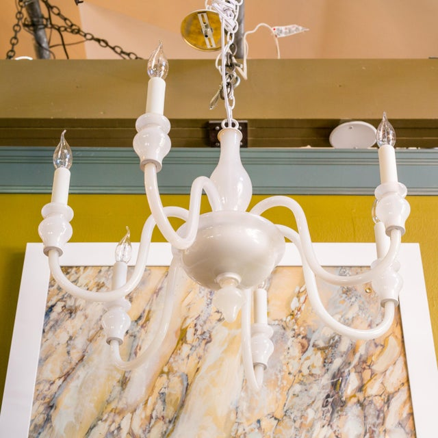 White glass Murano chandelier of interesting white milk glass. This light is interesting since I find so few which are all...