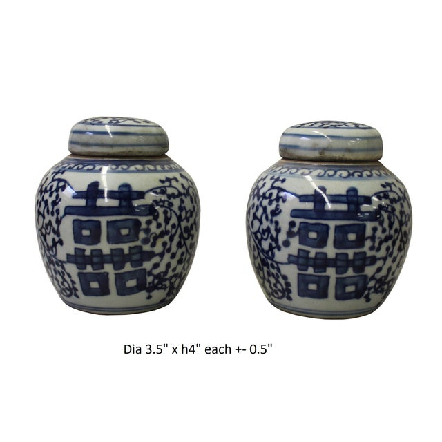 Pair Blue White Small Oriental Graphic Porcelain Ginger Jars - Image 5 of 5