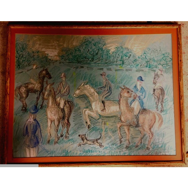This drawing depicts a French hunting scene in the manner of Raoul Dufy. The piece was made circa 1950, but the signature...