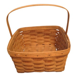 1970s Vintage Longaberger Handwoven Square Basket For Sale