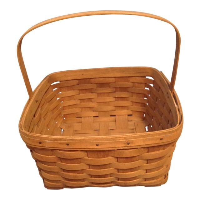 1970s Vintage Longaberger Handwoven Square Basket For Sale