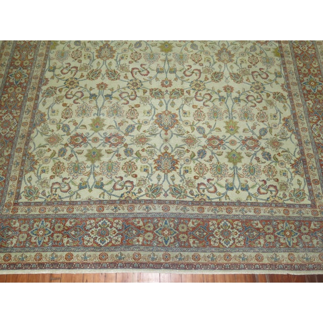 Textile Shabby Chic Ivory Antique Rug, 8'5'' X 11'5'' For Sale - Image 7 of 8